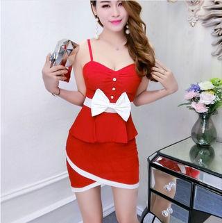 赤 白 バイカラー リボン ワンピ キャバドレス ドレス
