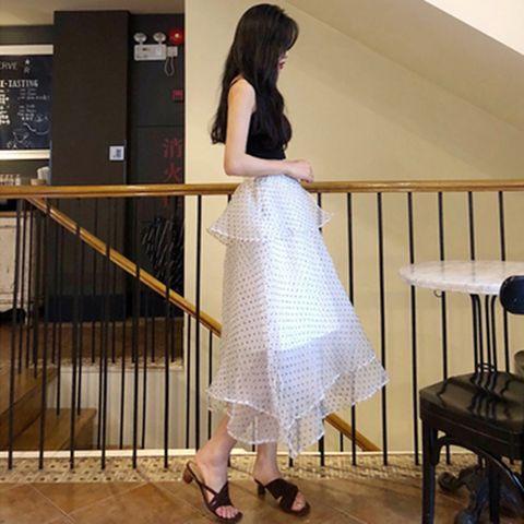 【女子力超アップ】ロング スカート ホワイト M ドット柄