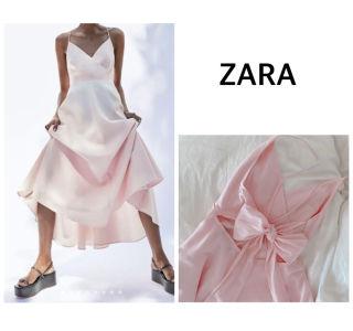 S 新品 ZARA  バックリボンキャミワンピース