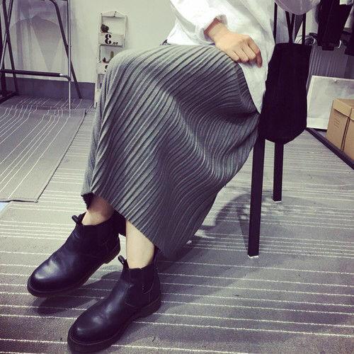 マキシ丈 プリーツ スカート グレー ハイウエスト 美脚