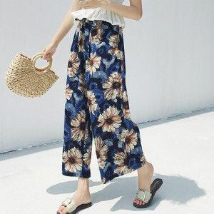 花柄ガウチョパンツワイドパンツ 【送料無料】