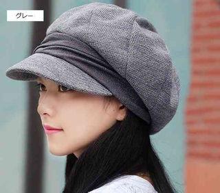【グレー】小顔効果 防寒 キャスケット 帽子 レディース