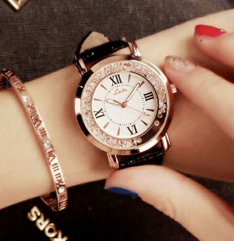 ラインストーン レディース 腕時計 ホワイト ピンクゴールド