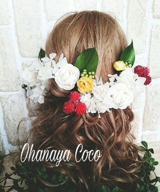 本物花 プリザ&ドライフラワーの髪飾り16点Set 110