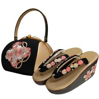 新品送料込 刺繍バッグ+刺繍草履2点セットASW028