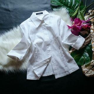 新品!クイーンズコート隠しボタン×7分袖×春厚手シャツ