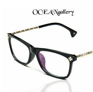 クリア ブラック黒 メタル クロス十字架 伊達 メガネ 眼鏡