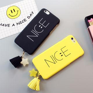09☆タッセル付きNICEスマイルiPhoneケース☆全2色
