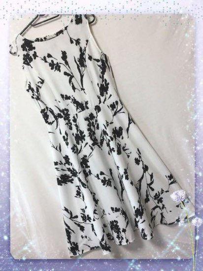 新品ベルト付き花柄綺麗ワンピース ホワイト L
