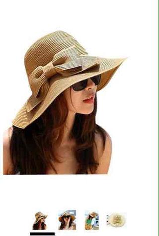大きい リボン ワンポイント つば広 麦わら 帽子