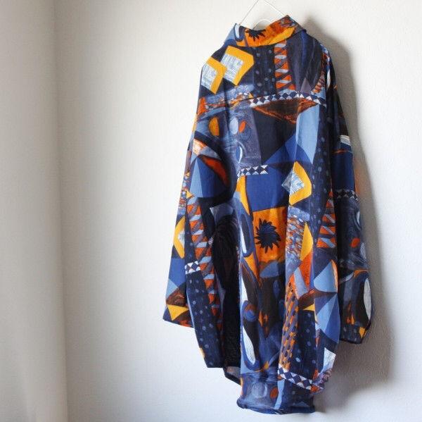 【即日発送】 大きいサイズ 総柄 ポリシャツ モード系