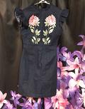 ローズ刺繍デニムワンピ