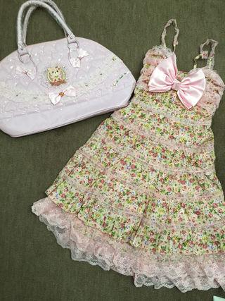 ラパフェピンク花柄ワンピ&バッグ2点セット新品