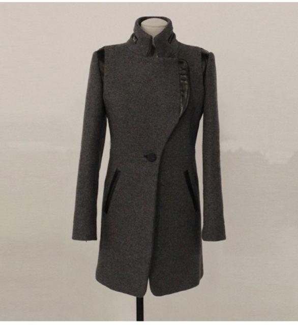異素材MIX スタンドカラーのロング丈コート【M】