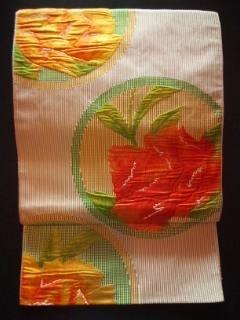 濃淡オレンジ薔薇ナゴヤ正絹フクレ織チョー美品