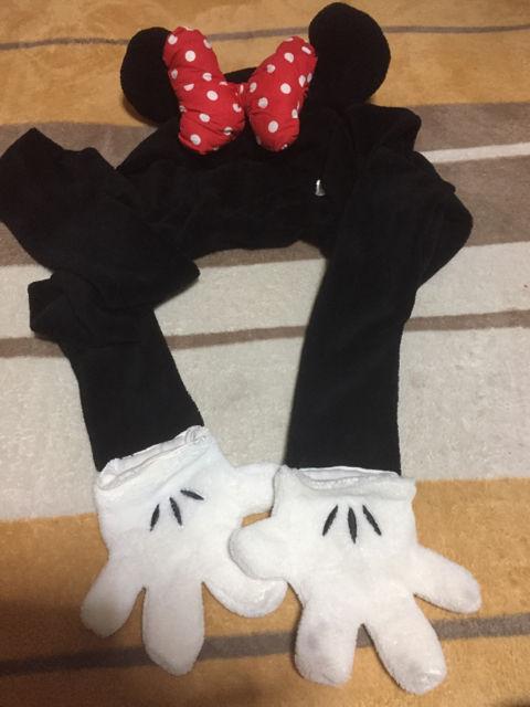 ミニーちゃん手袋付きマフラー