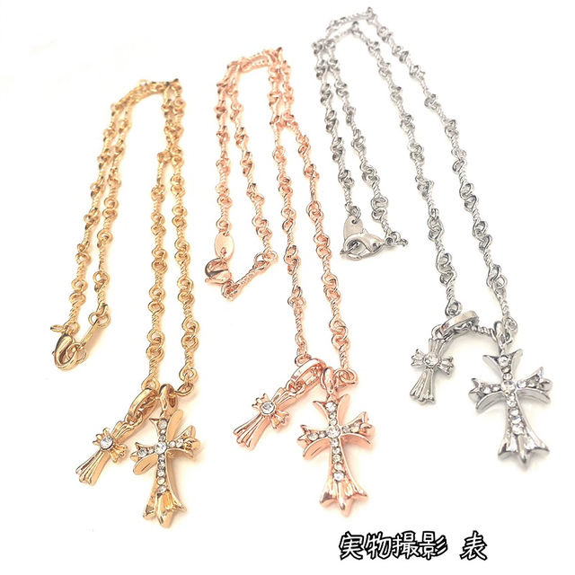 18K金コーティングキラキラスワロ十字架ネックレス