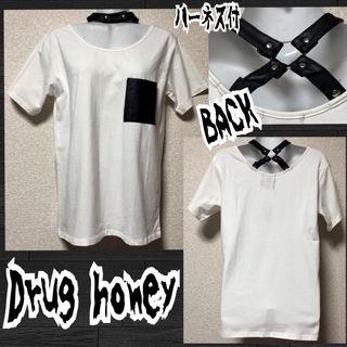 【新品/Drug honey】合皮ハーネスチョーカーTシャツ