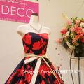 ウエディングドレス ネイビー/赤花柄 披露宴/二次会