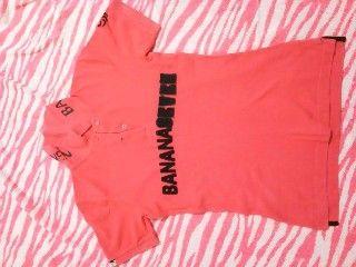 サーフ☆バナナセブン☆ピンク×黒☆ポロシャツ