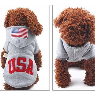 【オシャレUSAロゴ】グレー パーカー  ドッグウェア 犬用