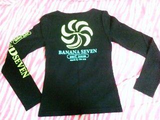 surfバナナセブン☆ラメ入りロゴ☆ロンT☆黒×緑×黄