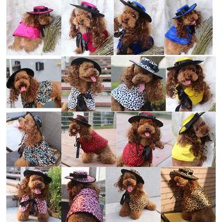 犬服ワンピのドレス&帽子セットSサイズPF32