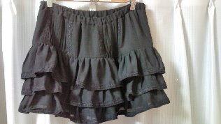 TRALALA黒シフォンひらミニスカート#F