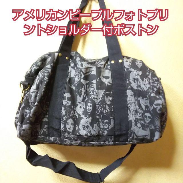 新品アメリカンピープルフォトプリントバッグ/黒