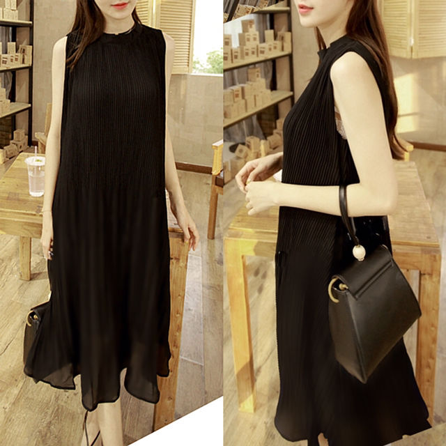 ワンピース シフォン ドレス ワンピース (ブラック)