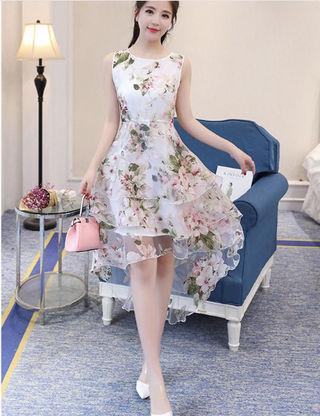 ピンク 花柄 ノースリーブ キュート ワンピース ドレス