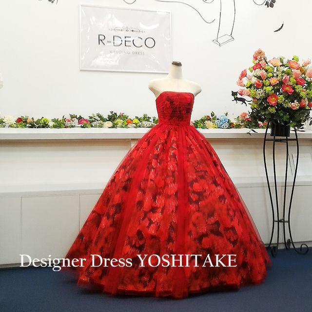 ウエディングドレス 赤い花柄チュールかけ 披露宴