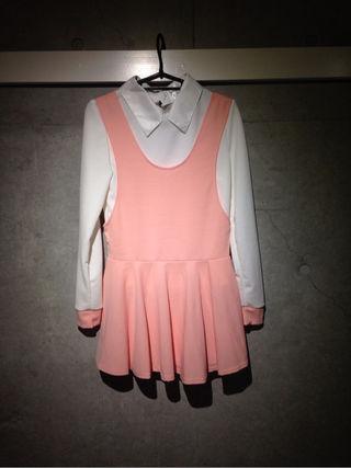 ピンクチュニック&袖ピンクシャツ