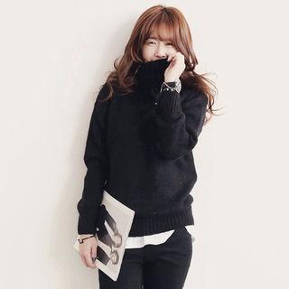 【期間限定】ケーブルニット セーター BK M