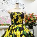 ウエディングドレス(パニエ無料) イエロー・黒花柄