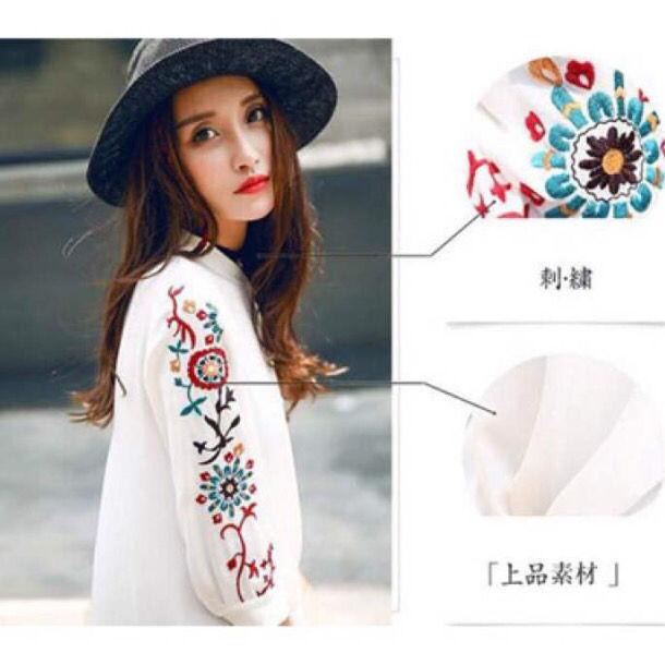 【新品未使用】 Lサイズ 袖 花柄 刺繍 ブラウス