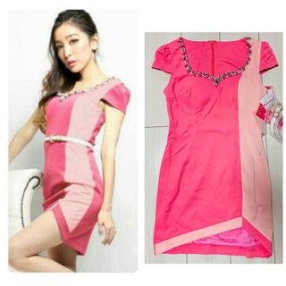 定価5980円ピンク×ピンク パール ビジュー 袖付き