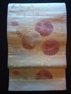 薄金通し菊柄*袋帯正絹六通チョー美品レタR