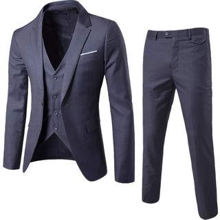 メンズスーツ 3ピース 紺 一つボタン グレー