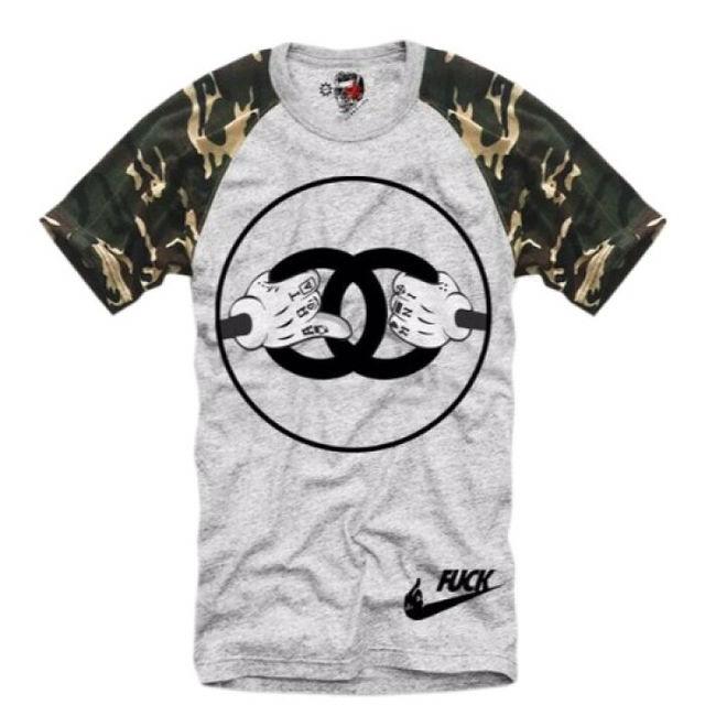 E1SYNDICATE Tシャツ カモフラ グレー  M