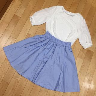 (2点セット)レーストップス&earth水色スカート