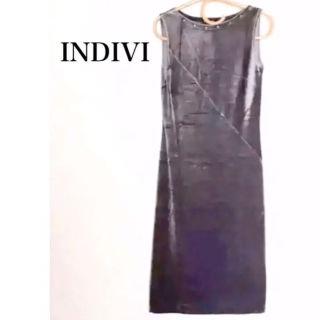 INDIVI  ベロア  ベッチン  ワンピース
