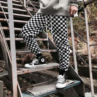 白×黒 チェッカー フラッグ ジョガーパンツ Lサイズ