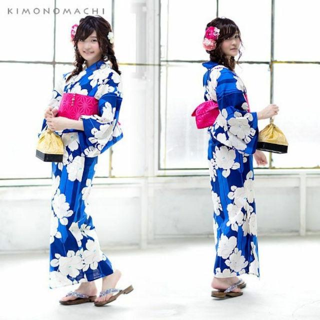 「紺×青色 矢羽根に椿」浴衣3点セット