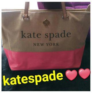 GW限定っkatespadeネオンピンクと麻地のバッグ