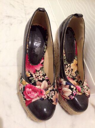 リゾフラ 花柄 リボン ウェッジソール サンダル パンプス