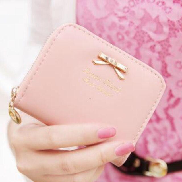 送料込新品リボンミニ財布 ピンク