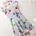 新品腰リボン付きドット&花柄ふんわりワンピース XL
