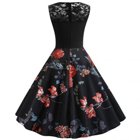 新品腰リボン付き胸レース花柄ワンピース ブラック L