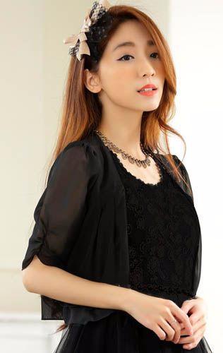 XL(大きいサイズ)黒★五分袖シフォンレースボレロ